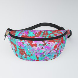 pink maple tree leaf with blue and red abstract background Fanny Pack