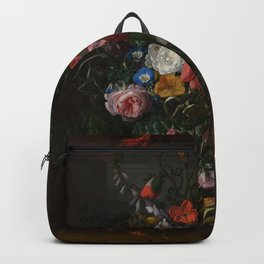 Rachel Ruysch - Roses, Convolvulus, Poppies and other flowers in an Urn on a Stone Ledge (1680) Backpack