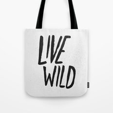 Live Wild Typography Tote Bag