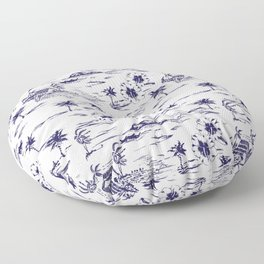 Tropical Island Vintage Hawaii Summer Pattern in Navy Blue Floor Pillow