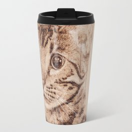 Bengal Cat Portrait - Drawing by Burning on Wood - Pyrography art Travel Mug