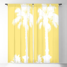 Palm Silhouettes On Yellow Blackout Curtain