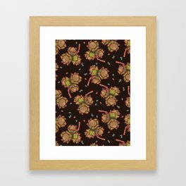 Dark hazelnuts pattern Framed Art Print