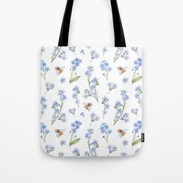 Cute hand painted brown bee lavender watercolor floral Tote Bag