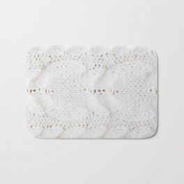 Wool white knitted sweater Bath Mat