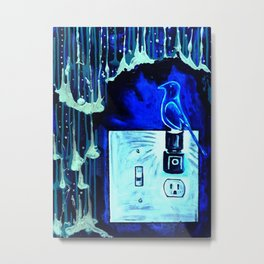 BLUE CANARY IN THE OUTLET BY THE LIGHTSWITCH Metal Print