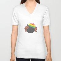 reggae V-neck T-shirts featuring Cute Reggae by Anna Alekseeva kostolom3000