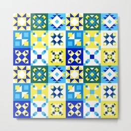 Moroccan tiles pattern with blue and yellow no4 Metal Print
