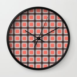Salmon Pink Plaid Pattern Wall Clock