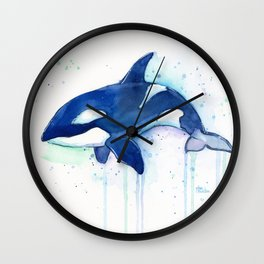 Killer Whale Orca Watercolor Wall Clock