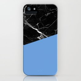 Black Marble with Little Boy Blue Color iPhone Case