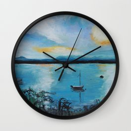 Lake Champlain at Sunset Wall Clock