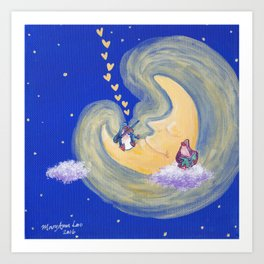 Friends of the Moon Penguins Violin Player and Book Lover Art Print