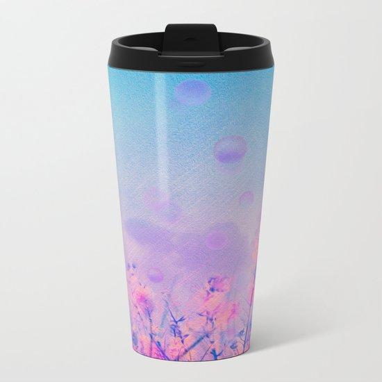 Spring Purple Dream (Neon Pink Wildflowers, Indigo Sky) Metal Travel Mug