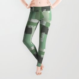 Olive Linen Abstract Color Block Pattern Leggings