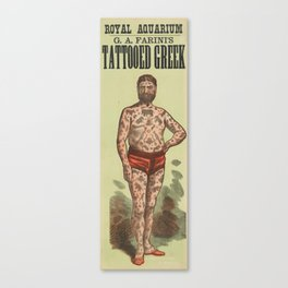 Vintage Tattoo Poster of George Costentenus Canvas Print