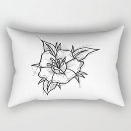 Flower Handmade Drawing, Made in pencil and ink, Tattoo Sketch, Tattoo Flash, Blackwork Rectangular Pillow