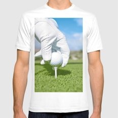 Tee me up MEDIUM White Mens Fitted Tee