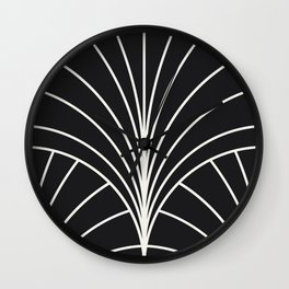 Diamond Series Floral Burst White on Charcoal Wall Clock