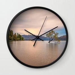 New Zealand Wanaka Tree Sunset Peaceful Landscape Wall Clock