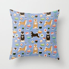 Shiba Inu noodles pho food cute dog art sushi dogs pet portrait pattern Throw Pillow