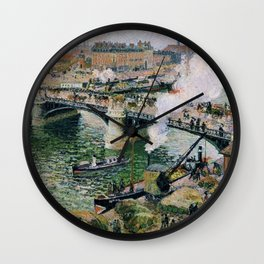 Pont Boieldieu in Rouen, Rainy Weather by Camille Pissarro Wall Clock