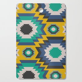 Ethnic in blue, green and yellow Cutting Board