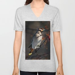 Bohemian waxwing in the sunlight Unisex V-Neck