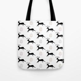 Jumping Deer and Pinecone Rustic Illustrated Print Tote Bag