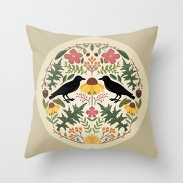 Crows, Wild Roses, Thistles And Sunflowers Throw Pillow