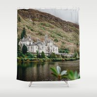 downton abbey Shower Curtains featuring Kylemore Abbey by Savannah Smith Photography