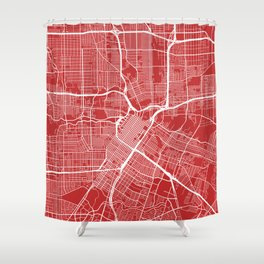 Houston Map, USA - Red Shower Curtain