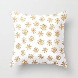 Golden Snowflakes Throw Pillow