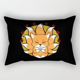 Kabuki Mask Nine Tailed cute Kitsune Japanese Fox Rectangular Pillow