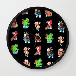 Kaiju Food Monster Pattern #2 in Black Wall Clock