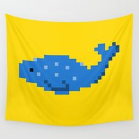 8 bit Wall Tapestries featuring 8-bit Seal by Ria Pi