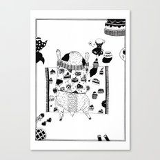 Pug teaparty Canvas Print