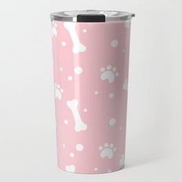 White dog paw and bones pattern on pink background Travel Mug
