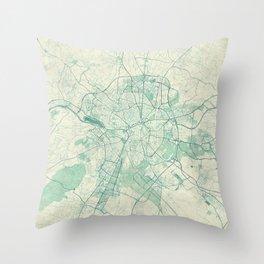 Dijon Map Blue Vintage Throw Pillow
