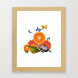 SURREAL GREEN FROGS BUTTERFLIES FRUIT & TURTLE Framed Art Print