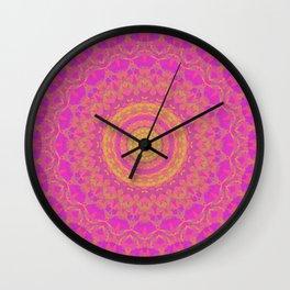 Pink, Orange, and Yellow Kaleidoscope 1 Wall Clock