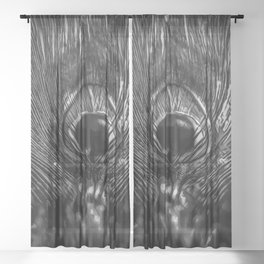 Eye Of The Peacock - Black and White Sheer Curtain