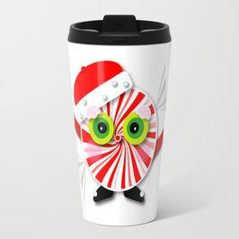 Red and White Christmas Peppermint Cartoon Travel Mug
