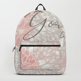 Hello Gorgeous, Cute, Meme, Fun Bathroom Art,  Floral Print, Pink and Gray Backpack