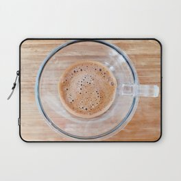 Transparent cup of coffee on a cutting board Laptop Sleeve
