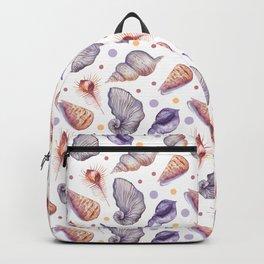 Summer pink lilac watercolor polka dots sea shells Backpack