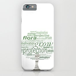 Tree shape with greenpeace concept words. Green gradient foliage. iPhone Case