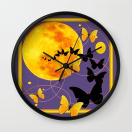 Puce Color Butterfly Full Moon Art Abstract Wall Clock