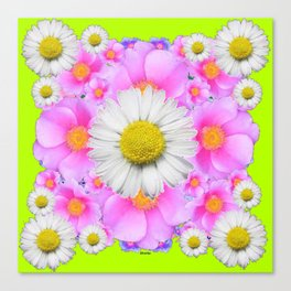 Chartreuse Green Color Shasta Daisies & Rose Pattern Canvas Print
