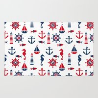 navy Area & Throw Rugs featuring Navy by Valmo. Surface pattern design by Valeria